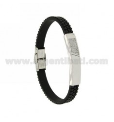 BRACELET STEEL PLATE AND RUBBER &39AND ZIRCONIA