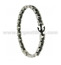 BRACELET WITH STILL IN STEEL AND BLACK CERAMIC