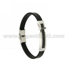 BRACELET WITH CARRY OVER ROLLED STEEL PLATE RUTENIO, RUBBER &39BLACKS AND ZIRCONIA