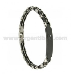 STAINLESS STEEL BRACELET BLACK CERAMIC AND ZIRCONE