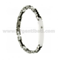 BRACELET STEEL PLATE, CERAMIC BLACK AND WHITE AND ZK