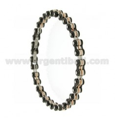 JOINT STEEL BRACELET WITH ELEMENTS AND ROSE GOLD PLATED RUTENIO