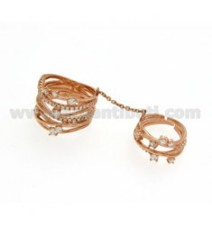 STRAW DOUBLE RING IN SILVER ROSE GOLD PLATED 925 TIT AND ZIRCONIA SIZE 12