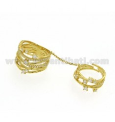 RING IN SILVER PLATED DOUBLE STRAW YELLOW GOLD AND ZIRCONIA SIZE 16 925