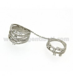 STRAW DOUBLE RING IN SILVER RHODIUM 925 TIT AND ZIRCONIA SIZE 12