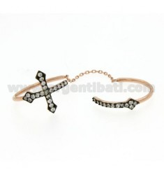 DOUBLE ADJUSTABLE RING WITH CROSSES IN SILVER ROSE GOLD PLATED 925 AND ZIRCONIA