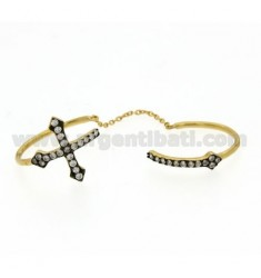 DOUBLE ADJUSTABLE RING WITH CROSSES IN SILVER AND GOLD PLATED 925 ZIRCONS