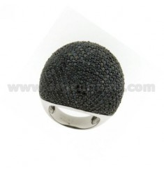 PAVE 'DOME RING IN AG TIT 925 ‰ AND BLACK ZIRCONS SIZE 14