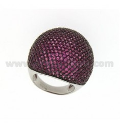 PAVE 'DOME RING IN AG TIT 925 ‰ AND RED ZIRCONS SIZE 18