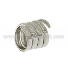 SPIRAL RING RHODIUM AG 925 TIT AND ZIRCONIA SIZE 12