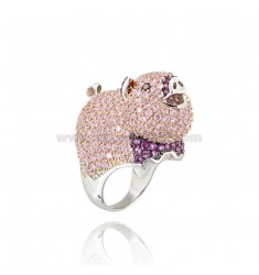 PIG IN RING RHODIUM AG TIT 925 ‰ AND ZIRCONIA PINK SIZE 14