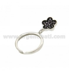 RING WITH FLOWER PENDANT AG TIT 925 E ZIRCOI PURPLE SIZE 14