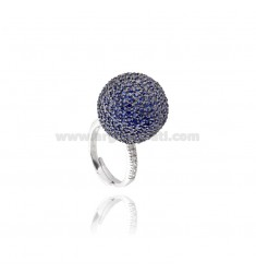RING BALL 20 MM IN AG AND RHODIUM PLATED RUTENIO TIT 925 ZIRCONIA AND BLUE SIZE ADJUSTABLE