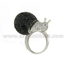 RING IN THE SNAIL 925 AG TIT AND ZIRCONIA WHITE AND ERI SIZE 13