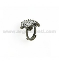 TURTLE IN PLATED RING AG RUTENIO TIT 925 ‰ AND ZIRCONIA SIZE ADJUSTABLE