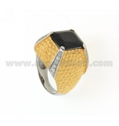 AG RHODIUM PLATED RING IN GOLD AND TIT 925 ZIRCONIA AND STONE SIZE 14 HYDROTHERMAL