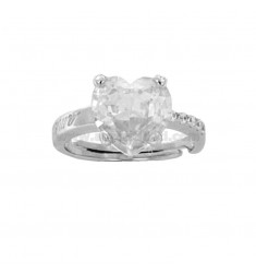 HEART RING IN RHODIUM AG TIT 925 ‰ AND WHITE ZIRCONIA SIZE 13 ADJUSTABLE