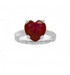 RING HEART IN RHODIUM AG TIT 925 ‰ Y ZIRCONIA BLANCO Y ROSSI TALLA 13 AJUSTABLE