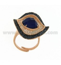 WAVY OVAL RING MM 3,5 X2, AG 8 IN ROSE GOLD PLATED 925 TIT AND ZIRCONIA WHITE AND BLUE SIZE ADJUSTABLE