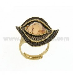 WAVY OVAL RING MM 3,5 X2, 8 IN YELLOW GOLD PLATED AG TIT 925 CHAMPAGNE AND ZIRCONIA SIZE ADJUSTABLE