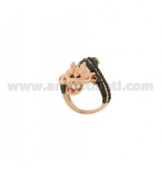 DRAGON RING IN ROSE GOLD PLATED AG TIT 925 ‰ BLACKS AND ZIRCONIA SIZE ADJUSTABLE