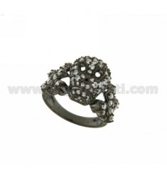 SKULL RING IN SILVER PLATED 925 RUTENIO TIT AND ZIRCONIA WHITE SIZE 16