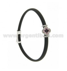 GRAY RUBBER BRACELET WITH FLOWER APPLICATION IN AG RHODIUM TIT 925 ‰, ZIRCONS AND HYDROTHERMAL STONES VARIOUS COLORS