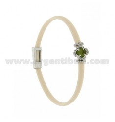 IVORY RUBBER BRACELET WITH FLOWER APPLICATION IN AG RHODIUM TIT 925 ‰, ZIRCONS AND HYDROTHERMAL STONES VARIOUS COLORS