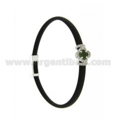BLACK RUBBER BRACELET WITH FLOWER APPLICATION IN AG RHODIUM TIT 925 ‰, ZIRCONS AND HYDROTHERMAL STONES VARIOUS COLORS