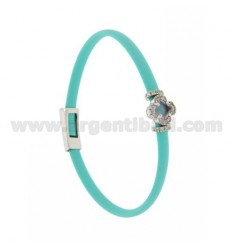 TURQUOISE RUBBER BRACELET WITH FLOWER APPLICATION IN AG RHODIUM TIT 925 ‰, ZIRCONS AND HYDROTHERMAL STONES VARIOUS COLORS
