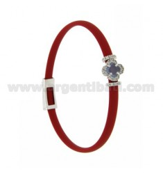 RED RUBBER BRACELET WITH FLOWER APPLICATION IN AG RHODIUM TIT 925 ‰, ZIRCONS AND HYDROTHERMAL STONES VARIOUS COLORS