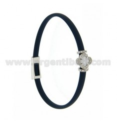 BRACELET IN BLUE RUBBER WITH FLOWER APPLICATION IN AG RHODIUM TIT 925 ‰, ZIRCONS AND HYDROTHERMAL STONES VARIOUS COLORS
