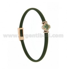 OLIVE GREEN RUBBER BRACELET WITH FLOWER APPLICATION IN AG ROSE GOLD PLATED TIT 925 ‰, ZIRCONIA AND HYDROTHERMAL STONES VARIOUS C