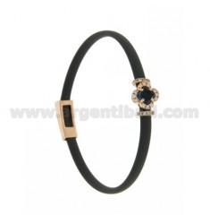 GRAY RUBBER BRACELET WITH FLOWER APPLICATION IN AG ROSE GOLD PLATED TIT 925 ‰, ZIRCONS AND HYDROTHERMAL STONES VARIOUS COLORS