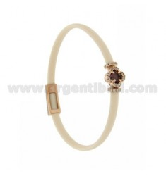 IVORY RUBBER BRACELET WITH APPLICATION FLOWER IN AG ROSE GOLD PLATED TIT 925 ‰, ZIRCONIA AND HYDROTHERMAL STONES VARIOUS COLORS