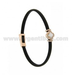 BLACK RUBBER BRACELET WITH FLOWER APPLICATION IN AG ROSE GOLD PLATED TIT 925 ‰, ZIRCONS AND HYDROTHERMAL STONES VARIOUS COLORS