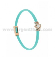 TURQUOISE RUBBER BRACELET WITH APPLICATION FLOWER IN AG ROSE GOLD PLATED TIT 925 ‰, ZIRCONIA AND HYDROTHERMAL STONES VARIOUS COL