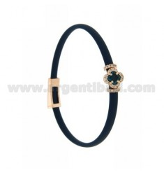 BLUE RUBBER BRACELET WITH APPLICATION FLOWER IN AG ROSE GOLD PLATED TIT 925 ‰, ZIRCONS AND HYDROTHERMAL STONES VARIOUS COLORS
