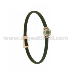 OLIVE GREEN RUBBER BRACELET WITH ROUND APPLICATION IN AG ROSE GOLD PLATED TIT 925 ‰, ZIRCONIA AND HYDROTHERMAL STONES VARIOUS CO