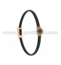 GRAY RUBBER BRACELET WITH ROUND APPLICATION IN AG ROSE GOLD PLATED TIT 925 ‰, ZIRCONS AND HYDROTHERMAL STONES VARIOUS COLORS