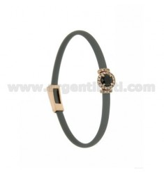 SILVER GRAY RUBBER BRACELET WITH ROUND APPLICATION IN AG ROSE GOLD PLATED TIT 925 ‰, ZIRCONS AND HYDROTHERMAL STONES VARIOUS COL