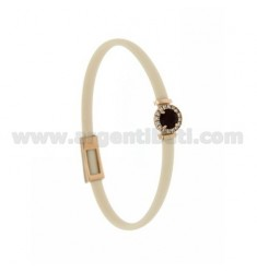 IVORY RUBBER BRACELET WITH ROUND APPLICATION IN AG ROSE GOLD PLATED TIT 925 ‰, ZIRCONS AND HYDROTHERMAL STONES VARIOUS COLORS