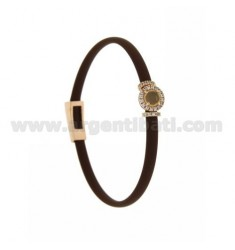 BROWN RUBBER BRACELET WITH ROUND APPLICATION IN AG ROSE GOLD PLATED TIT 925 ‰, ZIRCONS AND HYDROTHERMAL STONES VARIOUS COLORS