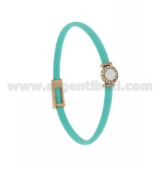TURQUOISE RUBBER BRACELET WITH ROUND APPLICATION IN AG ROSE GOLD PLATED TIT 925 ‰, ZIRCONS AND HYDROTHERMAL STONES VARIOUS COLOR