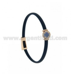 BRACELET IN BLUE RUBBER WITH ROUND APPLICATION IN AG ROSE GOLD PLATED TIT 925 ‰, ZIRCONS AND HYDROTHERMAL STONES VARIOUS COLORS