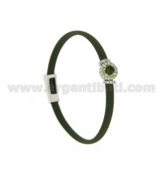 OLIVE GREEN RUBBER BRACELET WITH ROUND APPLICATION IN AG RHODIUM TIT 925 ‰, ZIRCONIA AND HYDROTHERMAL STONES VARIOUS COLORS