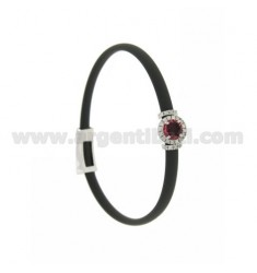 GRAY RUBBER BRACELET WITH ROUND APPLICATION IN AG RHODIUM TIT 925 ‰, ZIRCONS AND HYDROTHERMAL STONES VARIOUS COLORS