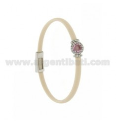 IVORY RUBBER BRACELET WITH ROUND APPLICATION IN AG RHODIUM TIT 925 ‰, ZIRCONS AND HYDROTHERMAL STONES VARIOUS COLORS