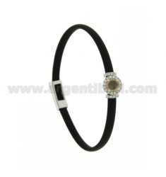 BLACK RUBBER BRACELET WITH ROUND APPLICATION IN AG RHODIUM TIT 925 ‰, ZIRCONS AND HYDROTHERMAL STONES VARIOUS COLORS
