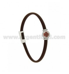 BRACELET IN BROWN RUBBER WITH ROUND APPLICATION IN AG RHODIUM TIT 925 ‰, ZIRCONS AND HYDROTHERMAL STONES VARIOUS COLORS